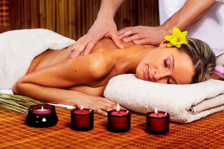 back massage: Spa massage.
