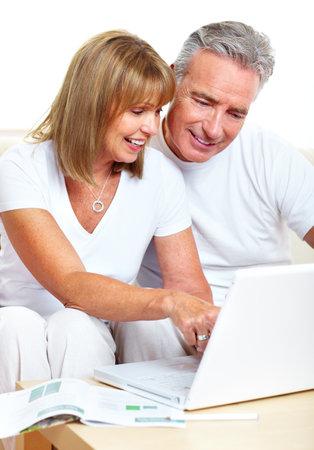 laptop: Couple with laptop. Stock Photo
