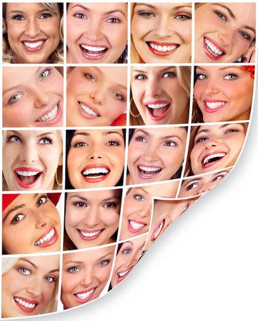collage caras: Mujer sonrisa.