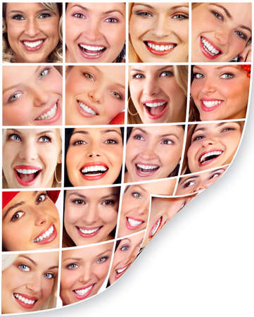 collage of faces: Sorriso di donna.