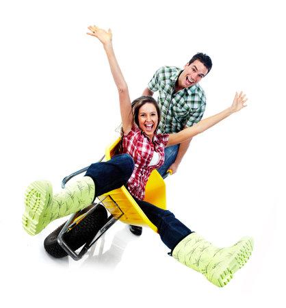 crazy people: Gl�ckliches Paar-und Gartenbau
