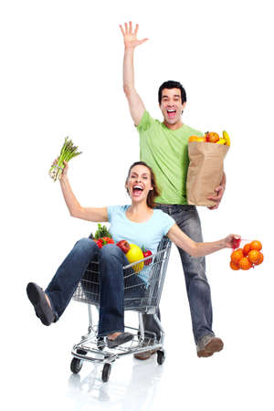 woman shopping cart: Shopping couple. Stock Photo