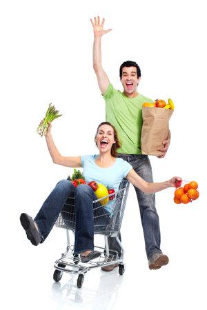 shopping cart isolated: Shopping couple. Stock Photo