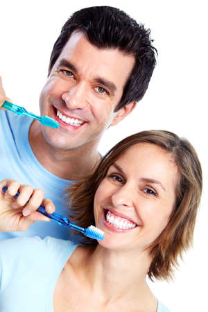 Couple with toothbrush. photo