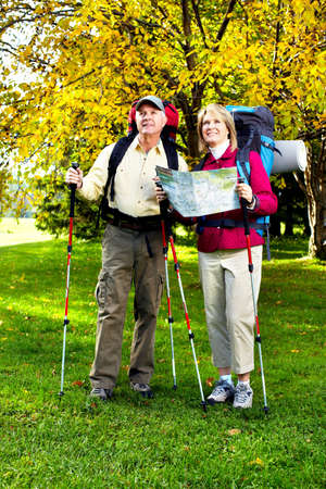 Hiking senior couple. photo
