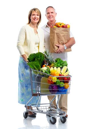 woman shopping cart: Shopping couple..