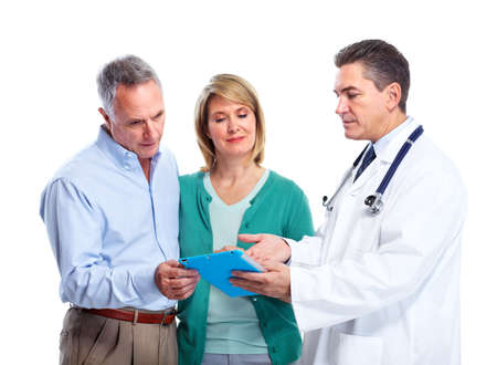 doctor tablet: Senior couple and a doctor.