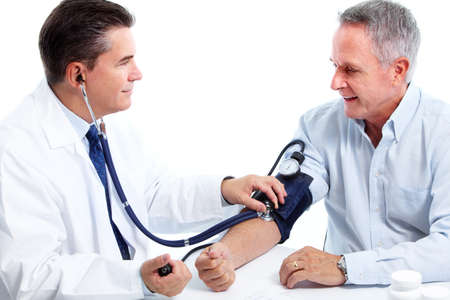 doctors tools: Doctor measuring blood pressure.