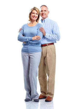 persona de pie: Feliz pareja de ancianos.