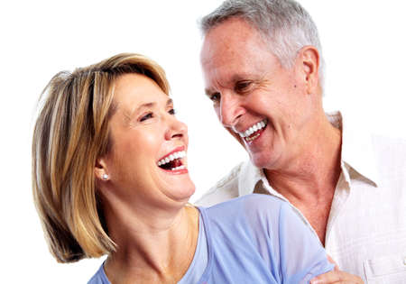 dentist smile: Happy elderly couple. Stock Photo