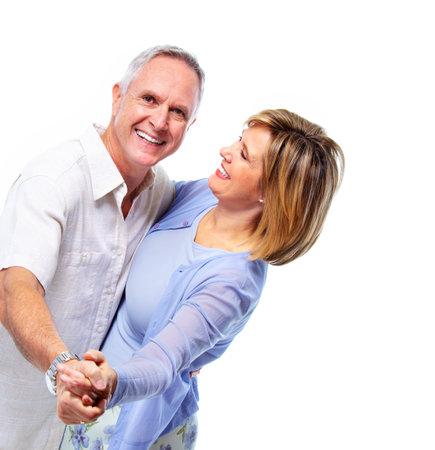 donna che balla: Felice coppia di anziani.