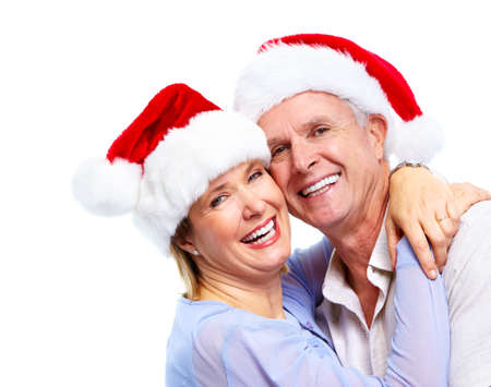 new age: Happy santa couple. Stock Photo