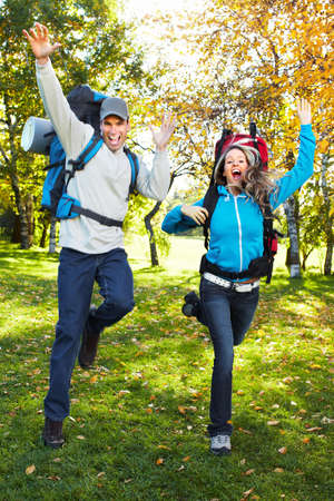 Hiking young couple. photo