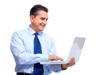 executive assistants: Businessman with laptop. Stock Photo