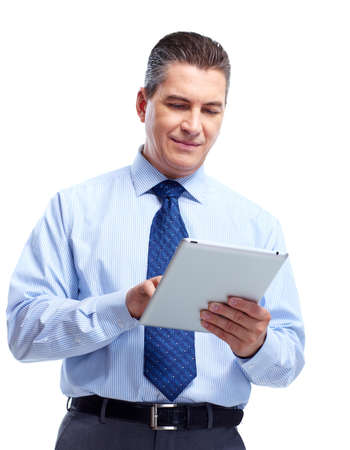 Businessman with tablet computer.