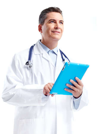 doctor computer: Doctor with tablet computer. Stock Photo