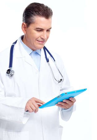 specialists: Doctor with tablet computer. Stock Photo