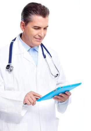 especialistas: M�dico con tablet PC.