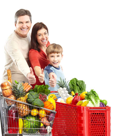 Happy family with a shopping cart. Imagens