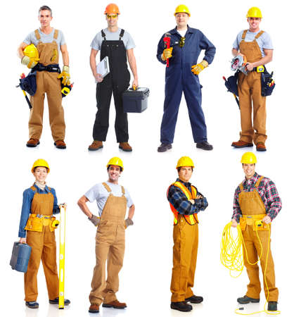 Group of  workers people. Construction. Stock Photo