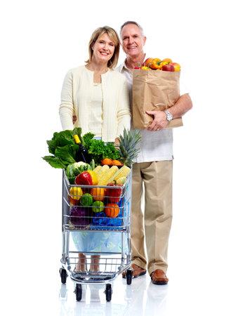 shopping cart isolated: Shopping couple..