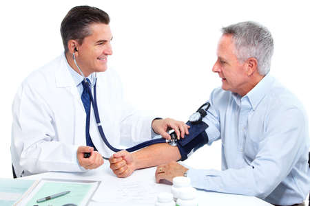 blood test: Doctor measuring blood pressure.