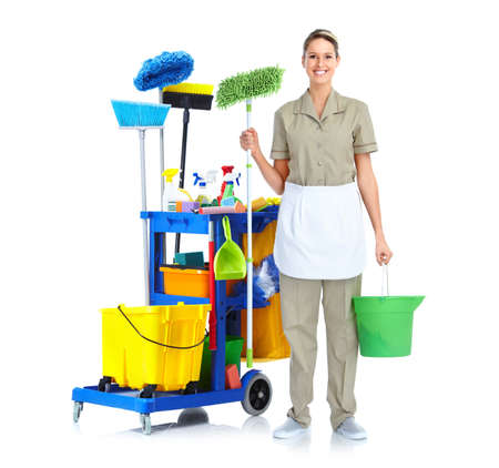 clean floor: Cleaner maid woman. Stock Photo