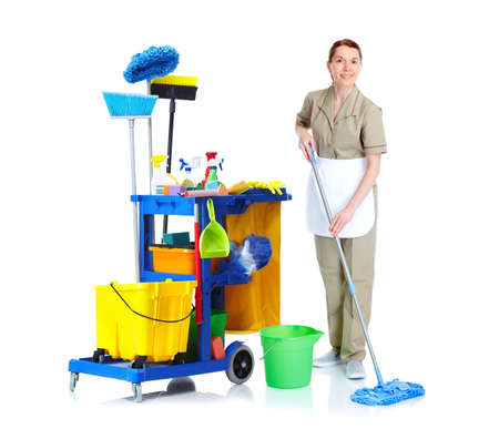 profession: Cleaner maid woman. Stock Photo