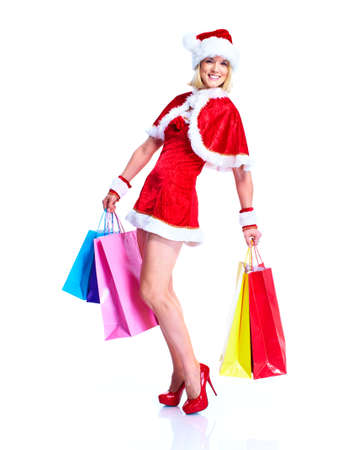 Shopping Christmas santa helper girl. photo