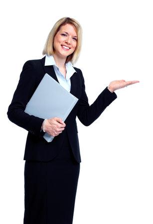alzando la mano: Contador mujer de negocios.