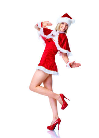 Happy christmas santa helper girl. photo
