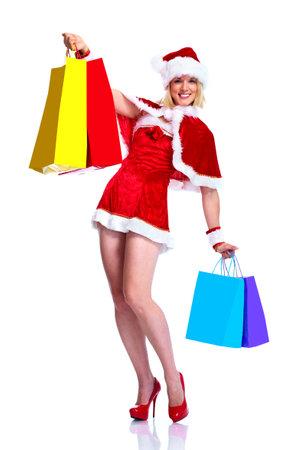 Christmas shopping santa girl. photo