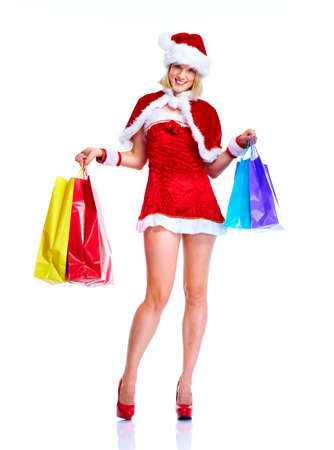 Shopping santa helper girl. photo