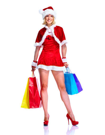 Christmas shopping santa helper girl. Stock Photo - 11069614