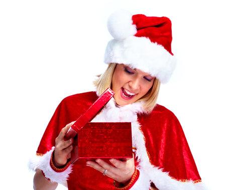 Christmas santa girl with present. photo