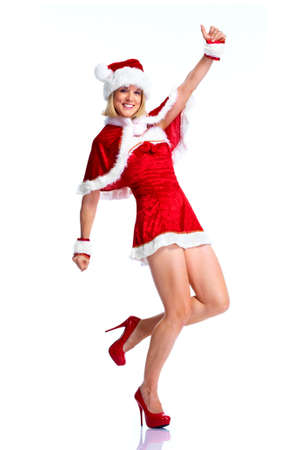 Happy santa helper girl. photo