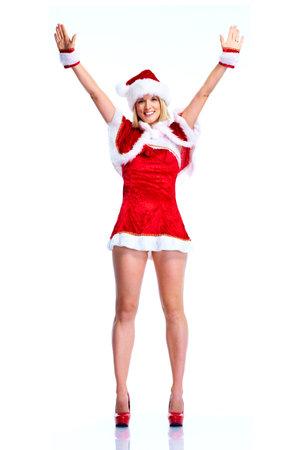 papa noel: Feliz navidad santa ayudante niña. Foto de archivo
