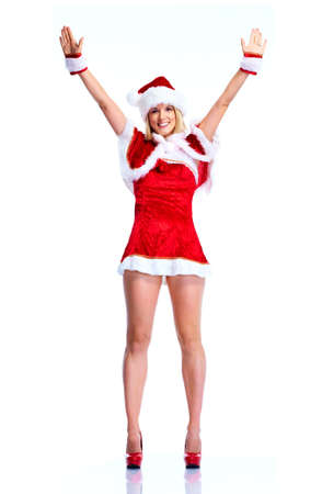 Happy christmas santa helper girl.