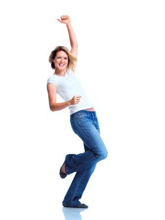 mani incrociate: Donna felice. Archivio Fotografico