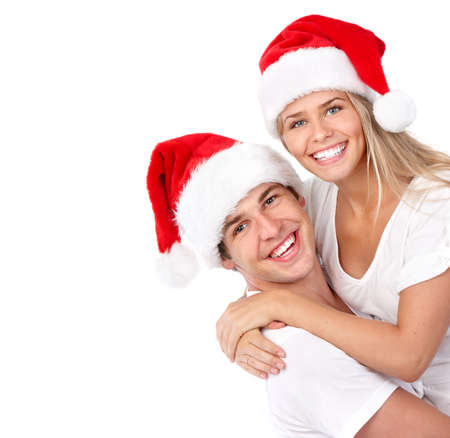 Happy Christmas santa couple. photo