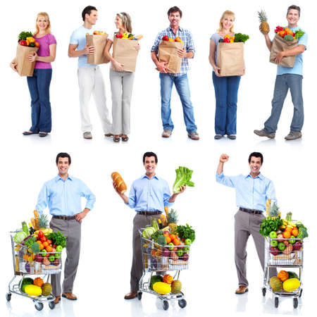 supermarket shopping: People with a grocery cart. Stock Photo