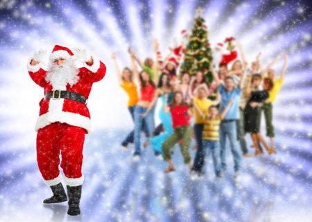 winter woman: Santa claus at christmas party.