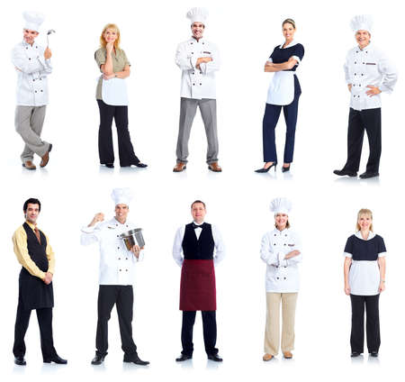 hotel staff: Chef and waitress peope workers. Stock Photo