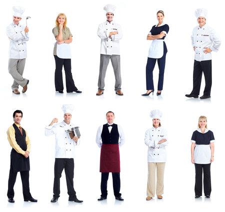 mesero: Cocinero y camarera peope trabajadores.