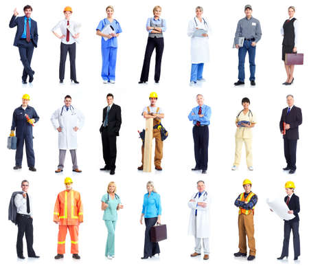 construction workers: Set of workers business people.