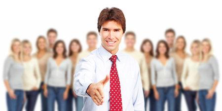 community group: Businessman with handshake. Stock Photo