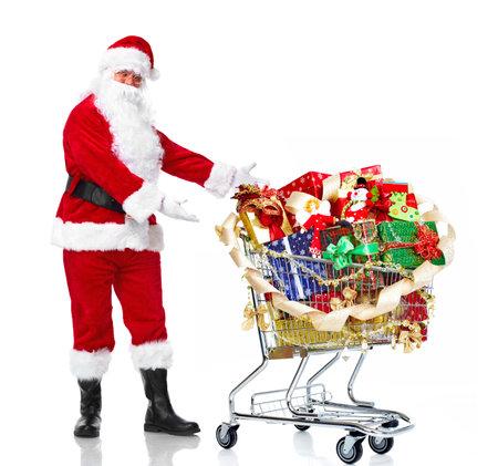 Kerstman met cadeautjes en winkelwagentje.