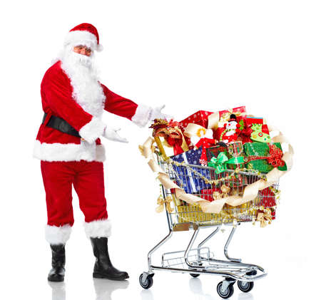 Santa Claus with gifts and shopping trolley.