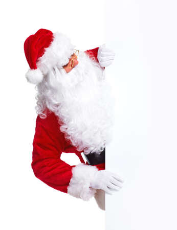weihnachtsmann: Santa Claus with banner.