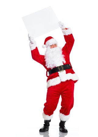 Weihnachtsmann mit Plakat.